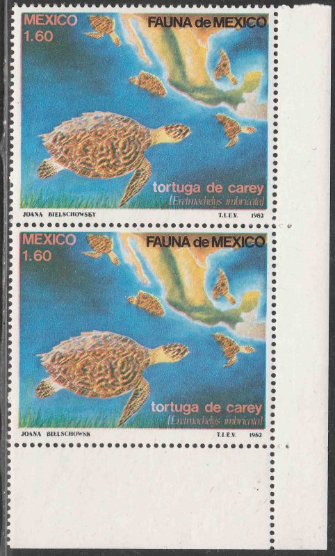 MEXICO 1281, Conservation of Turtles. Imprint Variety. MINT, NH. VF.