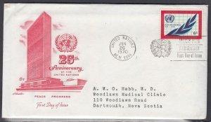 United Nations Scott 209 EM FDC & Encl.  - UN 25th Anniv.
