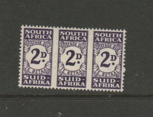 South Africa 1943/4 Postage Due, Correct unit of 3 2d MM SG D32