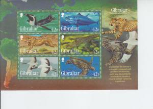 2013 Gibraltar Endangered Species III -SS (Scott NA) MNH