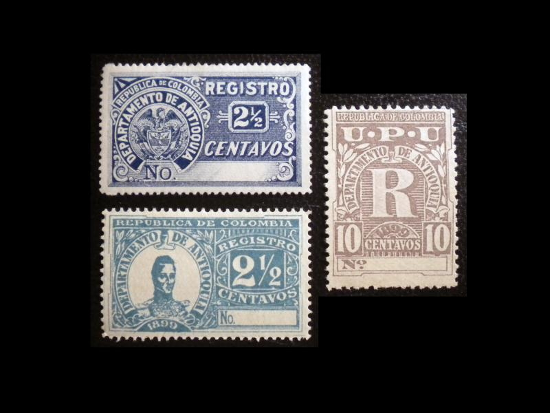 REGISTRATION STAMPS FROM COLOMBIA - ANTIOQUIA 1896 - 99. RARE FIND. MPH
