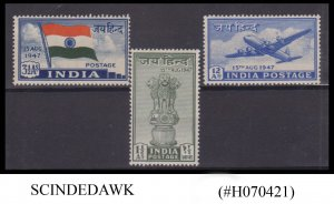 INDIA - 1947 INDEPENDENCE ISSUE SG#301-303 3V - MINT LH