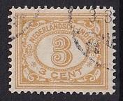 Netherlands Indies  #107  used  1912   numbers  3c yellow