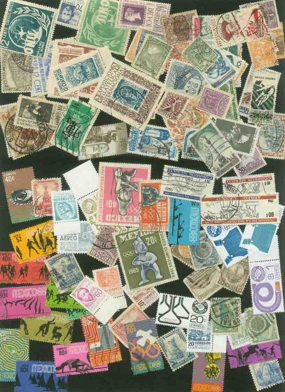 MEXICO 100 MINT/USED MIXED LOT, MOSTLY COMMEMORATIVES & PICTORIALS