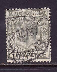 Bahamas-Sc#74-used 2p gray KGV-id2-dated 13 Oct 1937-