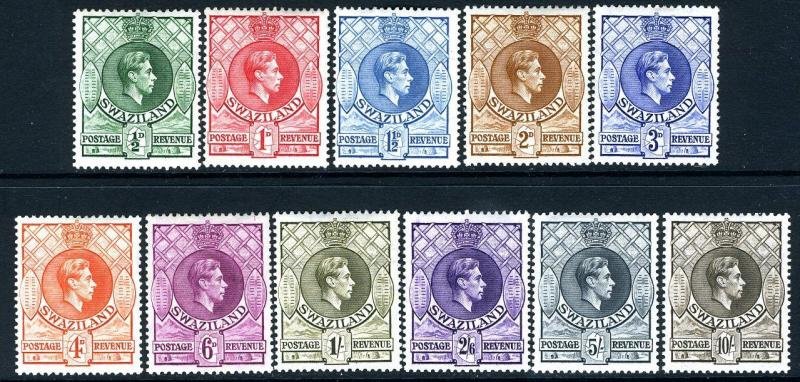 SWAZILAND-1938-54 Set to 10/-  Sg 22-38a MOUNTED MINT  V17374