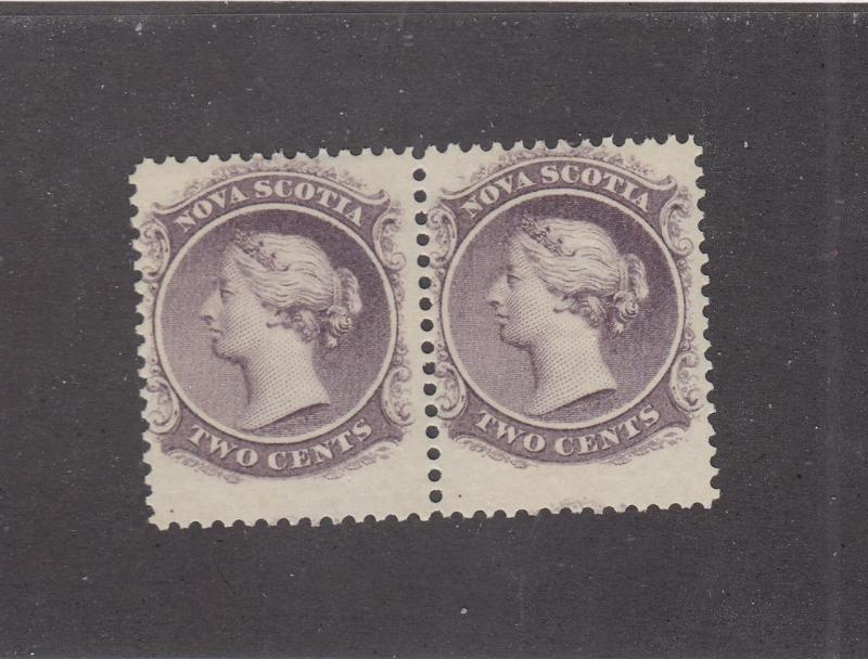 NOVA SCOTIA REF# KM14 # 9 VF-MNH 2cts QUEEN VICTORIA PAIR LILAC CAT VALUE $80