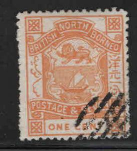 North Borneo Scott 36 used 1887 perf 14, coat of arms stamps