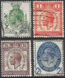 Great Britain 205-208 Unused/Hinged - King George V - Postal Union Congress