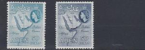 ADEN    1953 - 63    S G  58 + 59       2 X 50C VALUES     MH