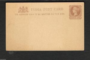 Unused Postal Stationary Post Card  India  Quarter Anna