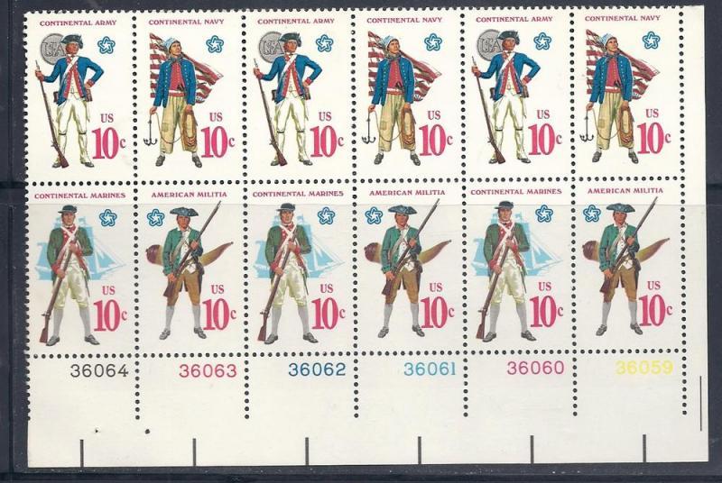 US# 1565-1568 10c Revolutionary War Uniforms PB-12 CV $3 00
