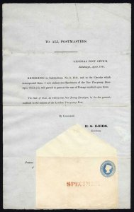 PN4 April 1841 Postal Notice with 2d Envelope opt SPECIMEN cat 3800 pounds