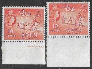 Aden # 67  Camel 10c  New Watermark - shade varieties (2)  VLH Unused