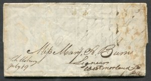 *p247 - SCHELLSBURG Pa 1846 Manuscript Postmark on SFL Cover to Westmoreland Cty
