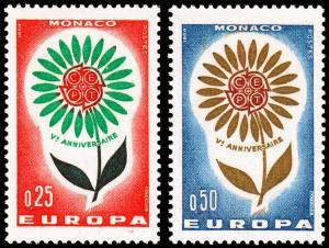 Monaco Scott 590-591 (1964) Mint VLH VF B