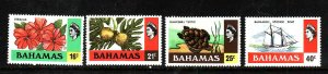 Bahamas-Sc#398-401-unused NH set-Hibiscus-Breadfruit-Turtle-Sponge Boat-1976-