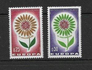 FRANCE - EUROPA 1964 - SCOTT 1109 TO 1110 - MNH