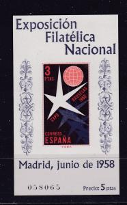 Spain the 1958 3Pt mini sheet MNH