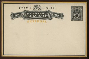 British Central Africa external 2d Post Card unused, H & G PC5