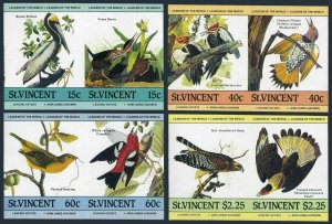 St Vincent 807-810 imperf pair,MNH.Michel 790B-797B. John Audubon's birds,1985.