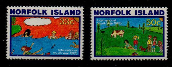 Norfolk Island Sc 369-0 1985 International Youth Year stamp set mint NH