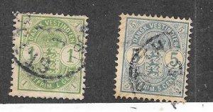 Danish West Indies #21-22  (U) CV $28.00