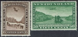 NEWFOUNDLAND 1931 AIRMAIL 15C AND 50C WMK ARMS MNH **