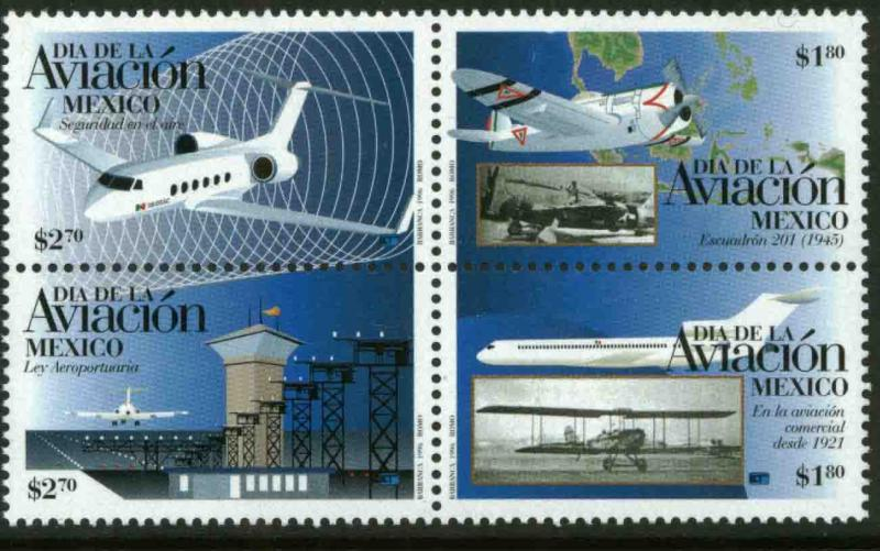 MEXICO 1954, MEXICAN AVIATION DAY, BLOCK OF FOUR. MINT, NH. F-VF.F-VF.