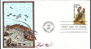 Pugh Designed/Painted Lobster FDC...43 of 101 created!