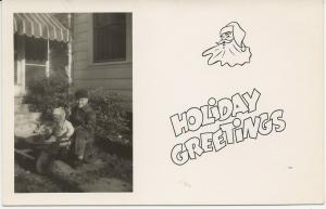 1940's RPPC Christmas Card Kids in Dixie Flyer Wagon Santa UNMAILED with writing
