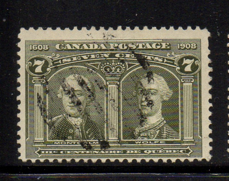 Canada Sc 100 1908 7c Wolfe & Montcalm stamp used