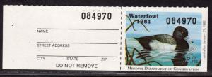 $US State Duck stamp Missouri Sc#3 M/NH/VF, with tab, Cv. $65