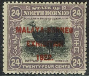 NORTH BORNEO 1922 MALAYA BORNEO EXHIBITION 24C