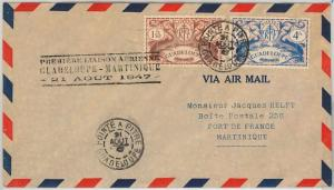 AIRMAIL- Guadeloupe -  POSTAL HISTORY:  First Flight cover Guadeloupe Martinique