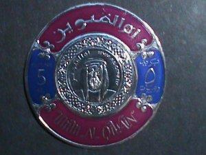 UMM AL QIWAIN STAMP-COLORFUL GOLD FOIL ROUND RARE-LARGE  MINT STAMP- VF