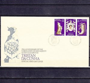 Tristan da Cunha, Scott cat. 238 a-c. Elizabeth`s Coronation. First day cover. ^