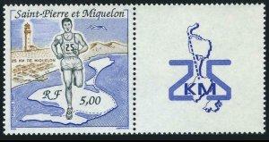 St Pierre & Miquelon 549/label,MNH.Michel 596. Runner,Map,Bird in flight.