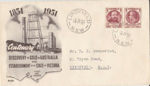 AFD927) Australia 1951 Wide World FDC - Discovery Of Gold & Responsible Gov.