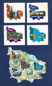 NORFOLK ISLAND - 181-184, 184a - VF MNH  - die-cut maps, UPU - 1974