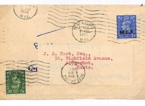 DA328 GB Cover 1952 KGVI *MEF*Overprint Accepted Internal Postage RE-USED Ealing