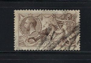 GREAT BRITAIN SCOTT #179 2/6 SHILLING- 1919 RETOUCHED SEAHORSES- USED