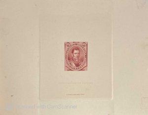 RO) 1877 ARGENTINA, SUNKEN DIE PROOF, GENERAL CARLOS DE ALVEAR SCOTT 40 25c, NAT