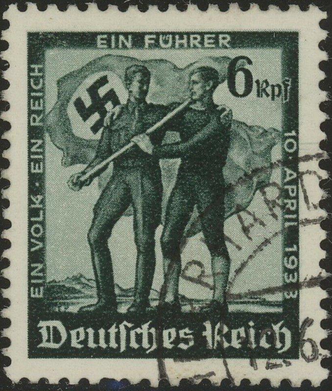 Stamp Germany Mi 663 Sc 485 1938 WWII 3rd Reich War Austria Flag EP Used