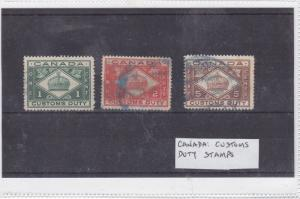 canada used customs duty  stamps  Ref 9364