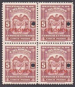 COLOMBIA 1944-56 SERVICIO EXTERIOR 5P block of 4 mint SPECIMEN..............7908