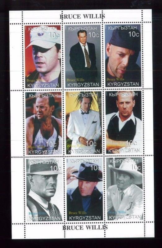 BRUCE WILLIS Souvenir Sheet 1999 VF, MNH Kyrgyzstan - E39