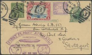 #UX27 POSTAL CARD FIRST FLIGHT ZEPPELIN USA TO GERMANY OCT 28,1928 BS1362