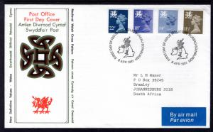 Great Britain Wales WMH16,23,32,40 Typed FDC
