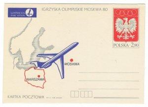 Poland 1980 Postal Stationary Postcard Stamp MNH Sport Olympic Games Airplane